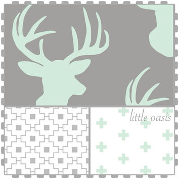Tribal crib bedding set! Grey and mint woodland deer!! Create a nursery you love beginning with a crib sheet and changing pad cover.