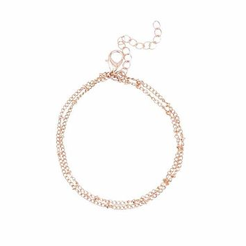 Summer bracelets & bangles Dainty Double-Layer Satellite Chain Gold Bracelet Wedding Gift