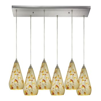 Curvalo 6 Light Pendant Satin Nickel Silver Multicolor Crackle Glass
