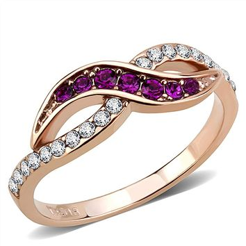 WildKlass Stainless Steel Ring IP Rose Gold(Ion Plating) Women Top Grade Crystal Multi Color