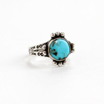 Vintage Sterling Silver Turquoise Blue Stone Ring - Size 4.5 Retro Southwestern Statement Native American Style Jewelry