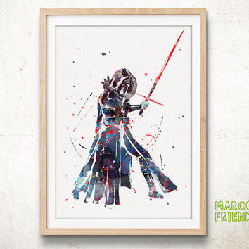 Kylo Ren, Force Awakens - Watercolor, Art Print, Wall Art, Gifts for Him, Home Decor, Watercolor Print, Star Wars Poster