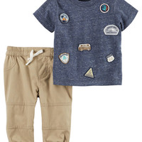 2-Piece Roadtrip Patch Tee & Pieced Pant Set