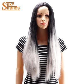 Silky Strands Ombre Synthetic Grey False Hair Wig Long Straight Silver Gray Wigs For Black Women Japanese Kanekalon Fiber