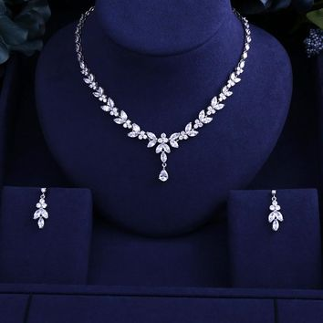 Newest Luxury Sparking Brilliant Cubic Zircon Clear Necklace Earrings Wedding Bridal Jewelry Sets Dress Accessories