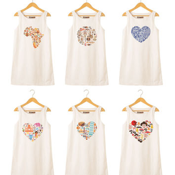 Country heart Printed Vintage 100% Cotton Linen Mini Shift Dress WDS_01