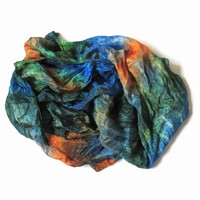OOAK Silk Scarf ruffled Hand Dyed Blue Orange Green Yellow New design