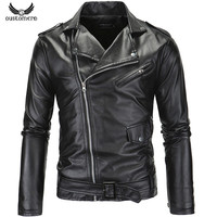 GustOmerD PU Leather Jacket Turn-down Collar Slim Fit Motorcycle Men Jacket Casual High Quality Mens Leather Coats