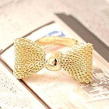 The Lovely Golden Bow Adjustable Ring