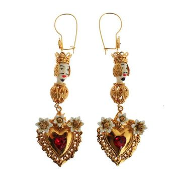Dolce & Gabbana Gold Red Crystal Heart Pupi Doll Dangling Hook Earring