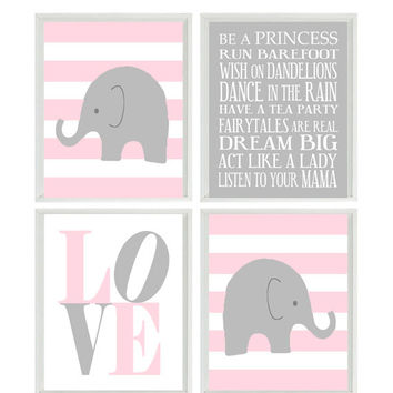 Nursery Art Elephant Stripes Baby Girl Nursery Prints, Gray Pink Wall Art  Love - Modern Nursery Decor Playroom Rules Quote - 4 8x10