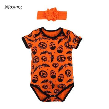 Niosung Baby Halloween Pumpkins Print Romper Jumpsuit Sets + Hair Band headband  Unisex Baby Costume Infant For Halloween Party