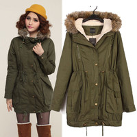 Army Green Fur Hooded Long Sleeve Winter Coat