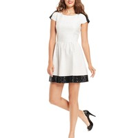 Kensie Dress, Short-Sleeve High-Neck Dotted Sequined