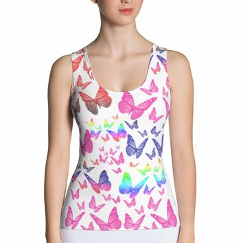 Butterfly Tank Top - Shirt - Crop Top - Butterfly Costume - Colorful