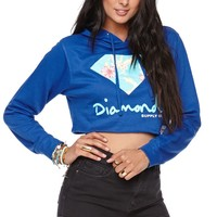 Diamond Supply Co Crop Floral Pullover Hoodie - Womens Hoodie - Blue - Large