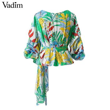 Vadim women green cross bow tie floral shirt oversized lantern sleeve o neck blouses ladies brand casual tops blusas DT1134