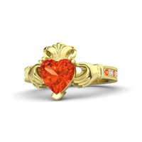 Heart Fire Opal 14K Yellow Gold Ring with Fire Opal & Diamond