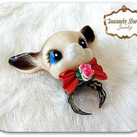 Deer Head Insanely Sweet Ring- vintage plastic retro deer