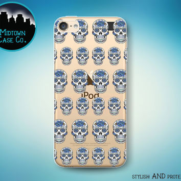 Sugar Skull Flowers Pattern Dia De Los Muertos Skulls Pretty See-Through Clear Transparent Rubber Case for iPod Touch 6th Gen or 5th Gen