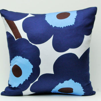 Modern blue floral accent pillow, Unikko poppy pillow cover, 18x18 blue pillow cushion case, Marimekko designer pillow cover