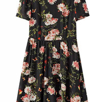 Black Floral Print Pleated Dress