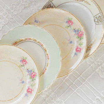 Vintage Mismatched Cottage Style Dessert Plates, Set of 5, Wedding, Shabby Chic, Tea Party Plates, Replacement China