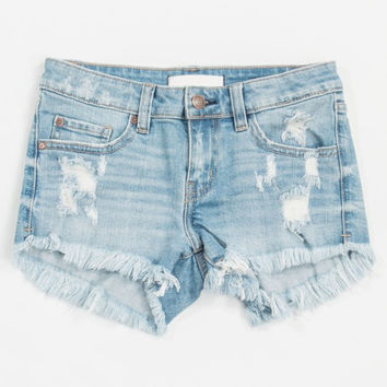 Fiji Cut Off Distressed Denim Shorts - Light Denim