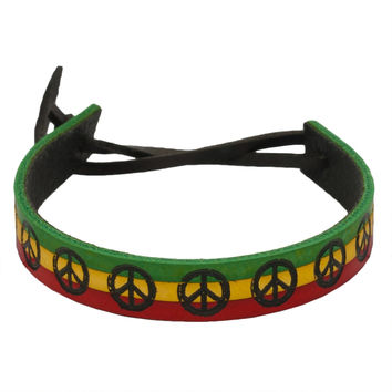 Rasta Stripes Peace Sign Leather Adjustable Bracelet