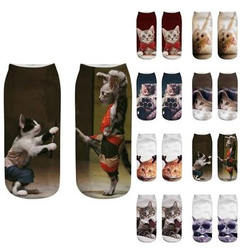 LL Casual Socks with Cute Cat Designs