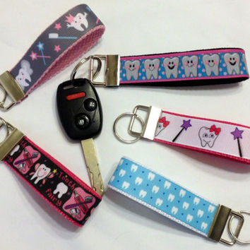 Set of 10 - Dental Themed Tooth Keychain for Dental Hygienists, Dental Assistants, Dentists, Orthodontists, and Students.