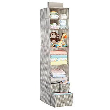 Chevron Fabric Baby Nursery Closet Organizer for Clothing, Diapers, Blankets, Toys - Hanging, 7 Shelves and 3 Drawers, Taupe/Natural