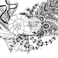Colouring Sheet Zen Doodle Instant Download pdf Abstract Art Zentangle Inspired. 'Shellseeker'