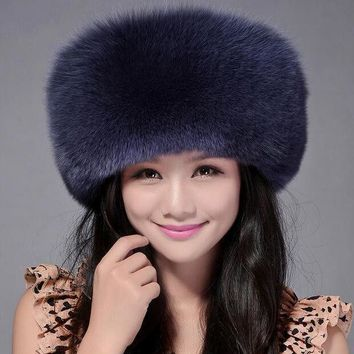ICIKJG2 High Quality Whole Skin Real Fox Fur Hat Genuine Leather Mongolian Princess Hat Fashion Warm Fur Headgear For Ladies MS-15
