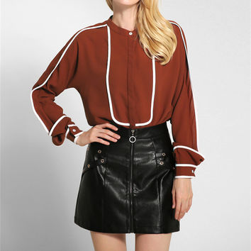 Fashion Round Neck  Long Sleeved Blouse