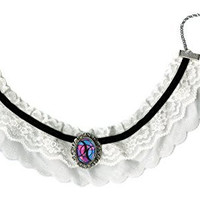 Bisexual Love Symbol Black & White Lace Choker with Handmade Silver Art Brooch Pendant