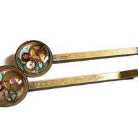 Pink and Blue Steampunk Hairpins with Watch Parts - Steampunk Bobby Pins - Steampunk Hair Pins