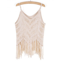 2016 Limited Handmade Knitting Crochet Tank Top Unique Tassel Lace Vest for Womens Summer Gift-44