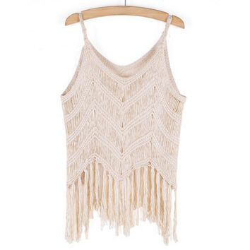 Retro Handmade Knitting Crochet Vest Tassel Tank top