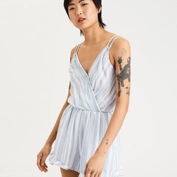 AE Double Strap Tie Back Romper, Blue
