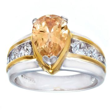 Beautiful Pear Shape Champagne Cubic Zirconia Fashion Ring With Side Stones in Contemporary Two Tone Setting