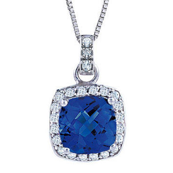 Created Blue Sapphire and Created White Sapphire Pendant