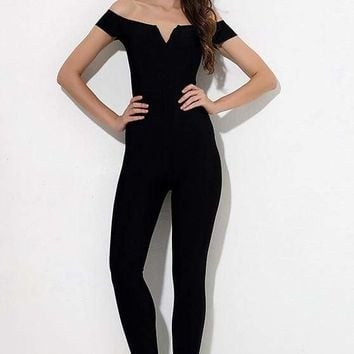 Black Off Shoulder Bandage Jumpsuit