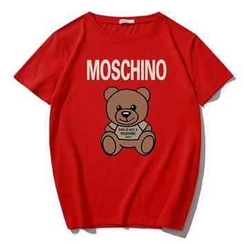 Moschino Summer Fashion New Letter Bear Print Sports Leisure Women Men T-Shirt Top Red