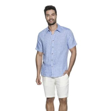 OndadeMar Mens Bicollage Beachwear Light Blue Shirt Sleeve Shirt