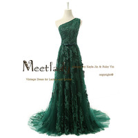M7027 One Shoulder Esmerald Green Elegant Lace Formal Evening Dress