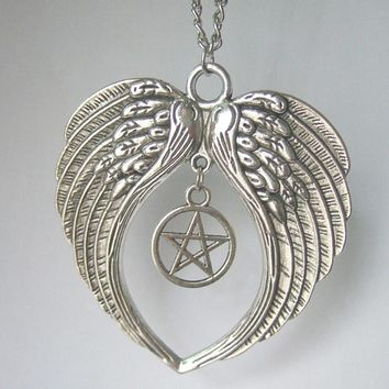 SUPERNATURAL LARGE Guardian Angel Wings Feathers Pentagram Pendant Chain Necklace 20""