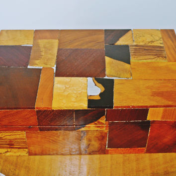 Marquetry Box, Vintage Wood Box, Letter Document Box, Jewelry Box