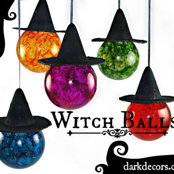 Witch Balls - Color Glass - Sun Catcher - Wiccan - Witch Hats - Dark Decor - Holiday Decor - Gifts under