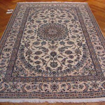 Signed Persian Hand-Knotted Carpet 5x8 Wool & Silk Ivory Nain Rug